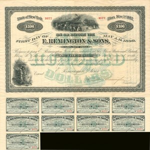 E. Remington & Sons Company $100 6% Bond signed by Eliphalet Remington III
