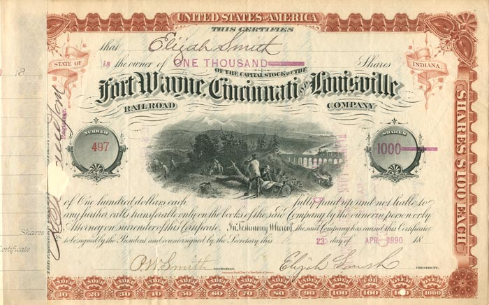 Fort Wayne, Cincinnati & Louisville Railroad Co. issued to and signed by Elijah Smith - Stock Certificate