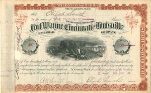 Fort Wayne, Cincinnati and Louisville Railroad Company signed by Elijah Smith