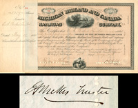 Michigan Midland and Canada Railroad Company signed by E.A. Wickes - SOLD