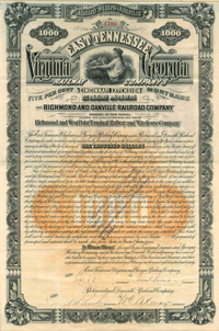 East Tennessee, Virginia and Georgia Railway Company and the Richmond and Danville Railroad Company - $1,000