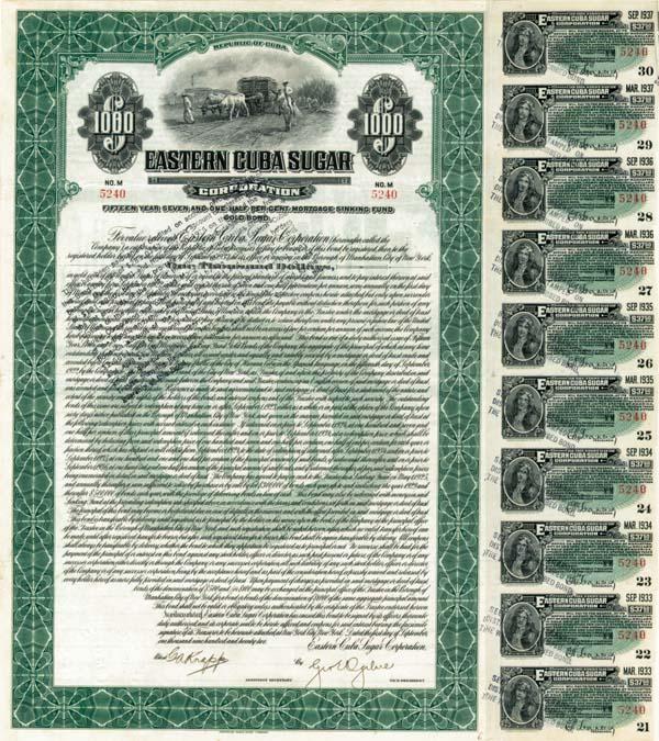 Eastern Cuba Sugar Corporation  - Bond