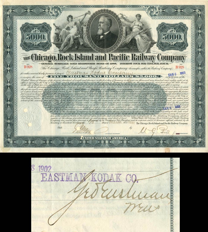 Chicago, Rock Island & Pacific Railway Bond signed by George Eastman
