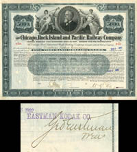 Chicago, Rock Island and Pacific Railway Company signed by George Eastman