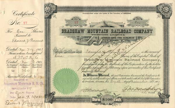 Bradshaw Moutain Railroad Company signed by Edward Berwind