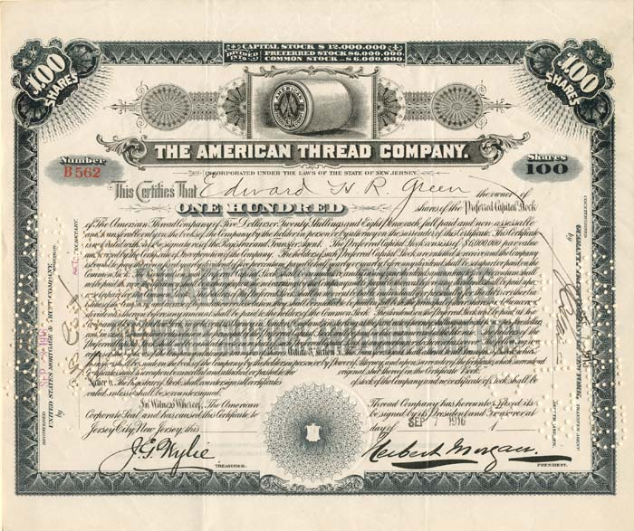 American Thread Company Issued to Edward H.R. Green - Stock Certificate