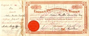 Edison Phonograph Works signed by Thomas Edison and Samuel Insull - SOLD