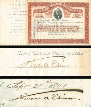 Edison Portland Cement Company signed twice by Edison
