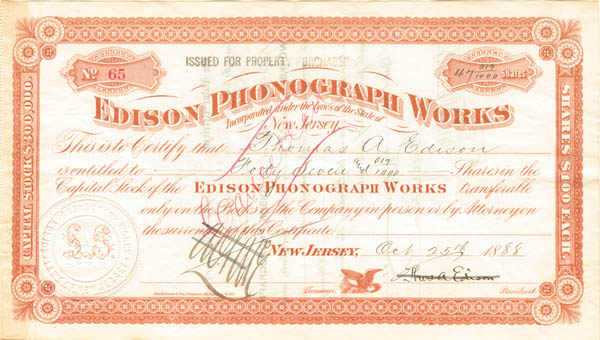 Thomas A. Edison - Edison Phonograph Works - Stock Certificate