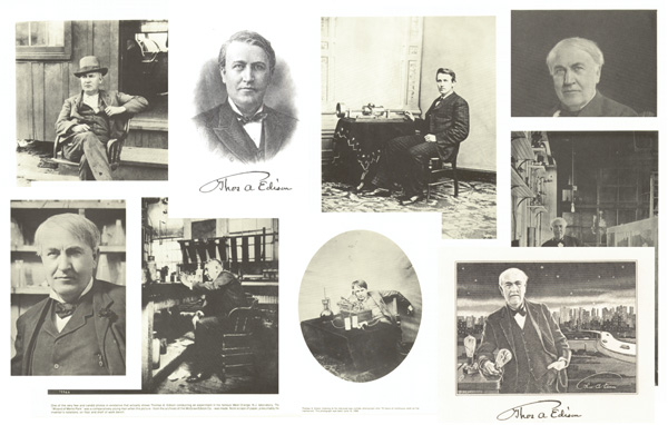 Collection of 9 Reprints of Photos and Engravings of Thomas Alva Edison