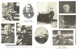 Collection of 9 Reprints of Photos and Engravings of Edison