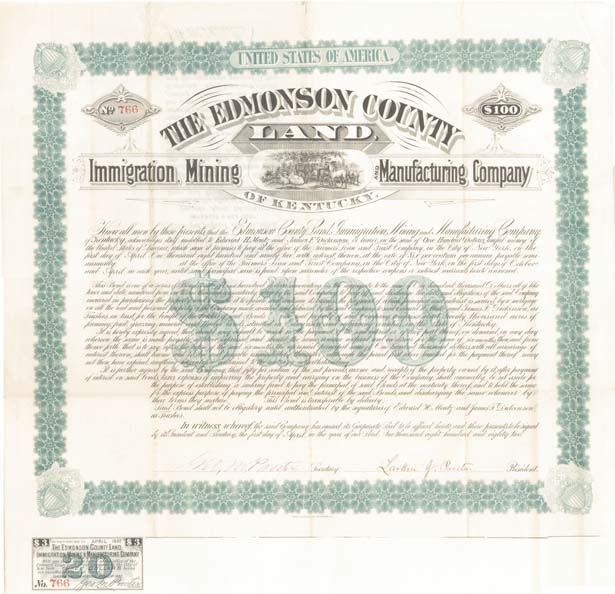Edmonson County Immigration Mining & Manufacturing Company - SOLD
