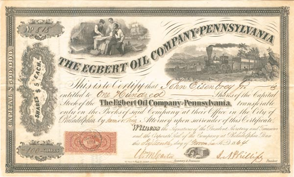Egbert Oil Company of Pennsylvania - Stock Certificate