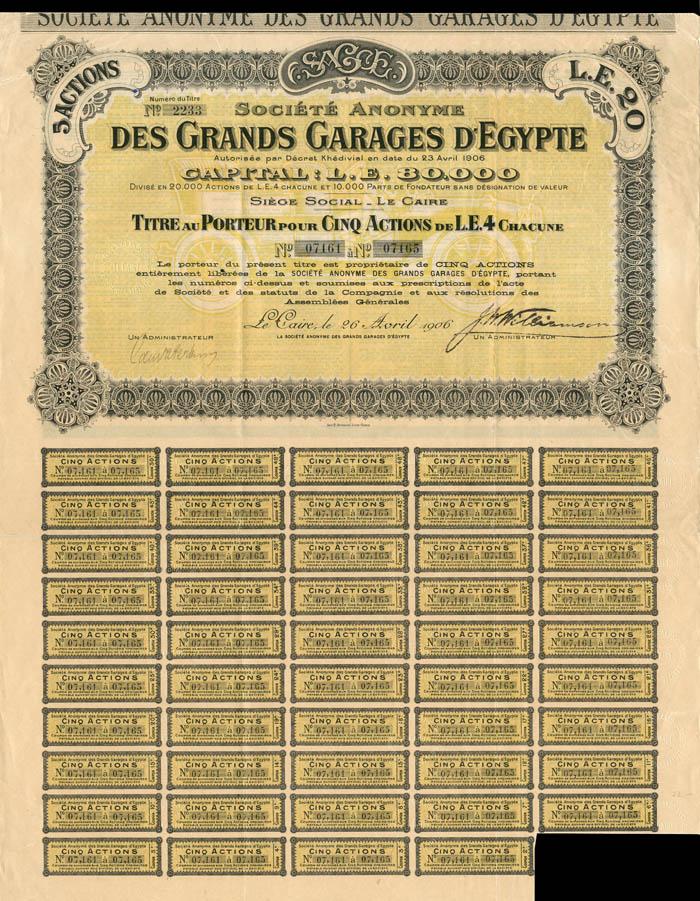 Societe Anonyme Des Grands Garages D'Egypte