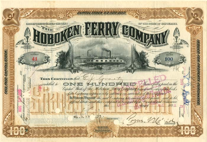 Hoboken Ferry Company signed by E.J. Graetz