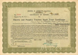 Electric and People's Traction Stock Trust Certificate - SOLD