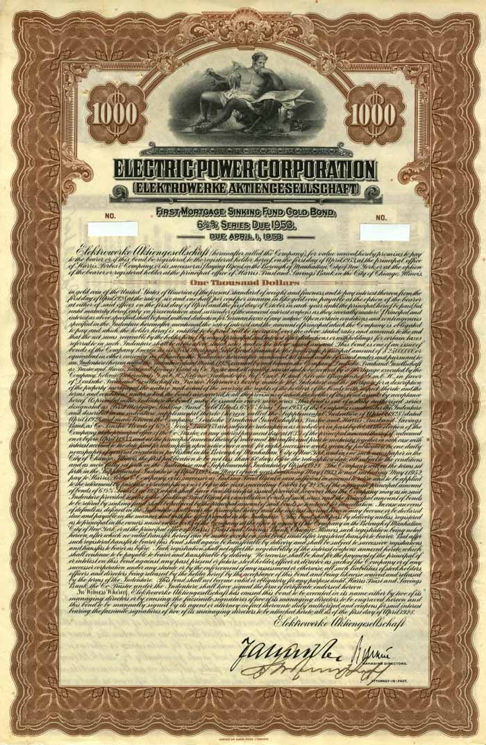 Electric Power Corporation 6.5% Uncancelled $1000 Bond