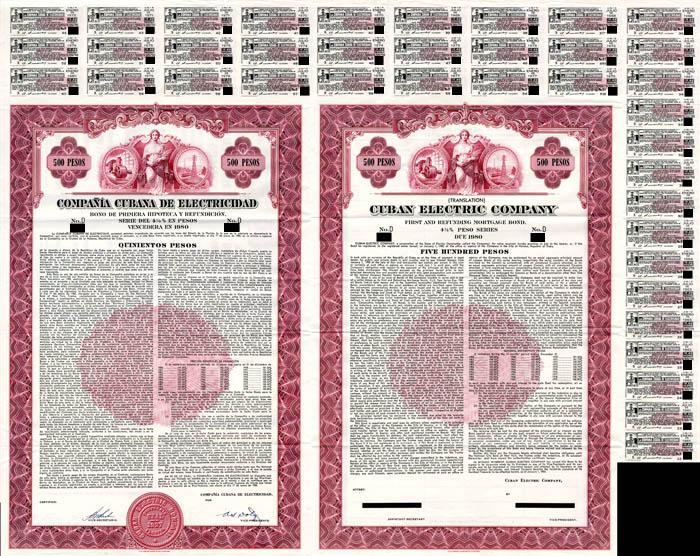 Compania Cubana De Electricidad - 500 Pesos