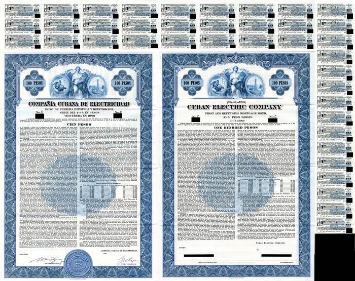 Compania Cubana De Electricidad - 100 Pesos