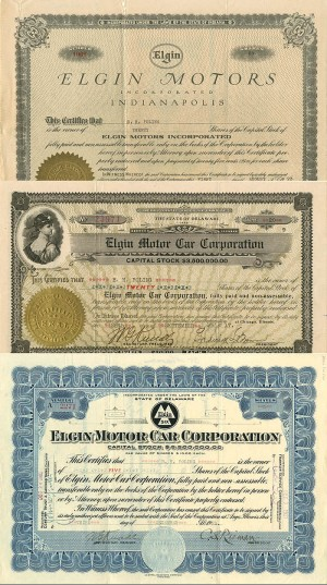 Elgin Motor Car Corporation - Set of 3
