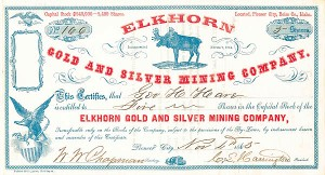 Elkhorn Gold and Silver Mining Co - Stock Certificate - SOLD
