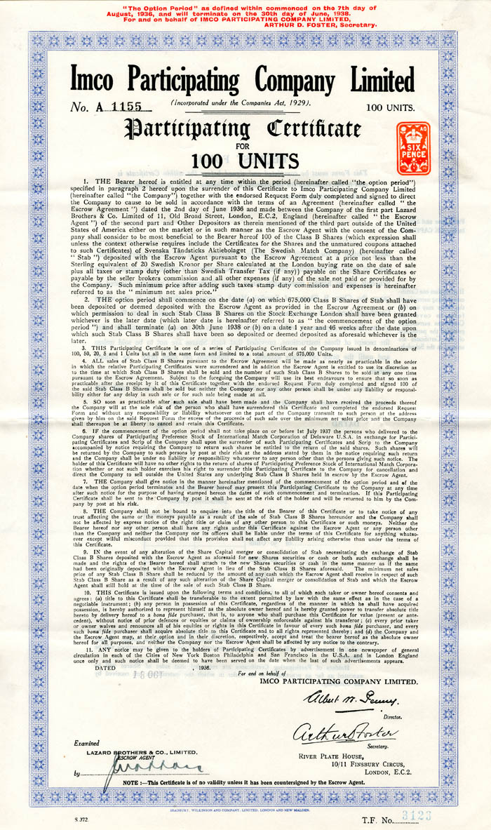 Imco Participating Company Limited - Stock Certificate