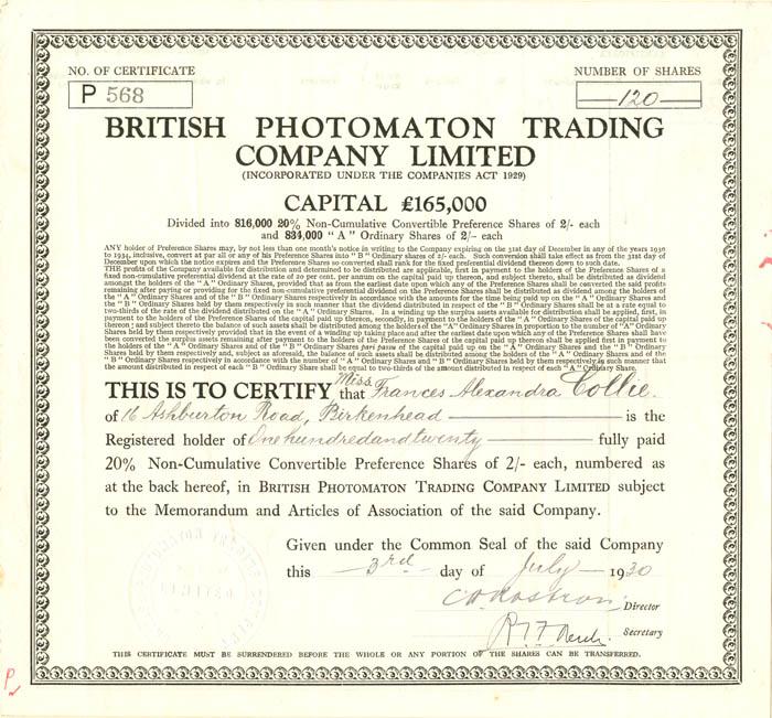 British Photomaton Trading Company Limited