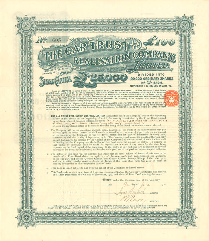 Car Trust Realisation Company, Limited - Stock Certificate
