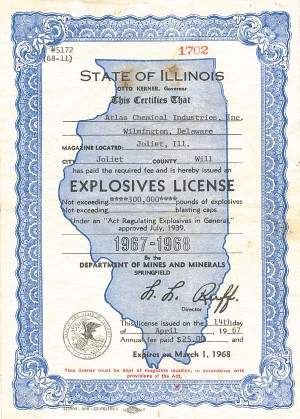 State of Illinois Explosives License - SOLD