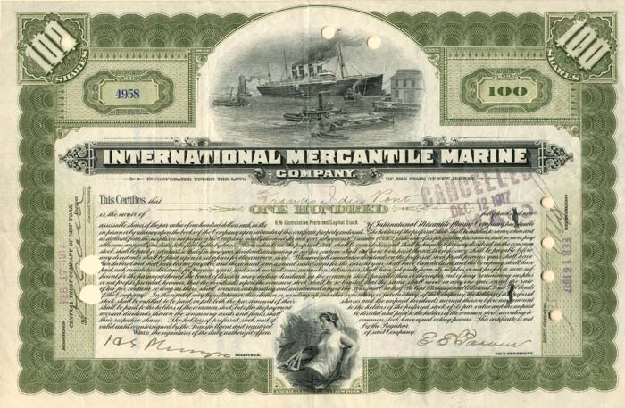 International Mercantile Marine signed by Francis I. DuPont - Company that Made the Titanic - Stock Certificate