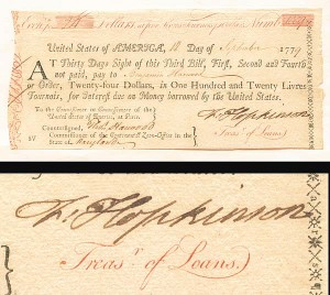 Francis Hopkinson signed Bill of Exchange - SOLD