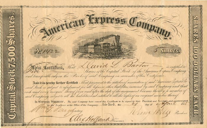 American Express Company signed by Fargo and Wells - SOLD