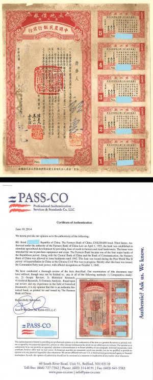 $250,000 Farmers Bank of China