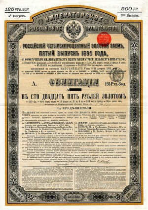 Imperial Government of Russia 4% 1893 Gold Bond