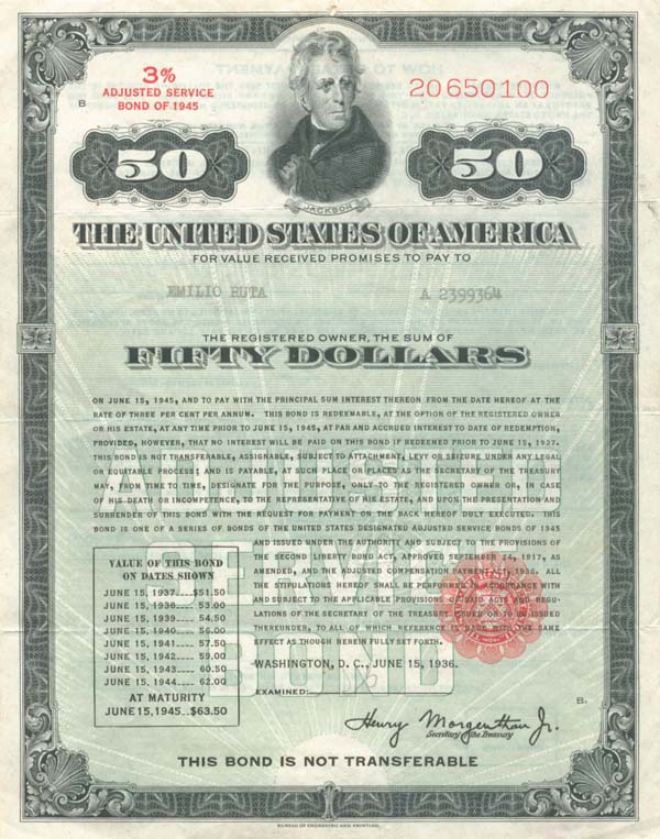 $50 United States Treasury Service Bond