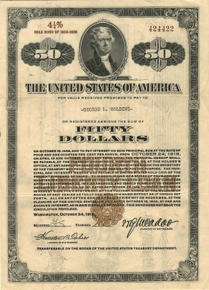 Fifty Dollar 4th Liberty Loan Bond - SOLD