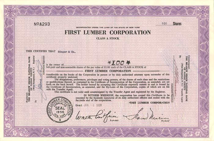 First Lumber Corporation - SOLD