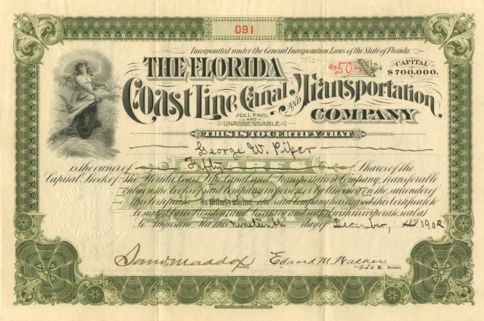 Florida Coast Line Canal and Transportation Company - SOLD