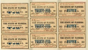 State of Florida - Set of 3 Sheets of 3 Notes - SOLD