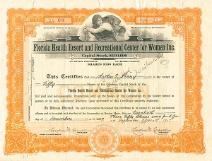 Florida Health Resort & Recreational Center for Women, Inc - Stock Certificate