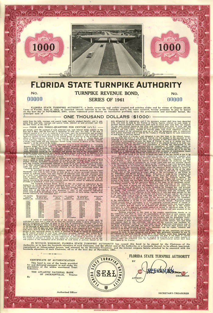 Florida State Turnkpike Authortiy Specimen