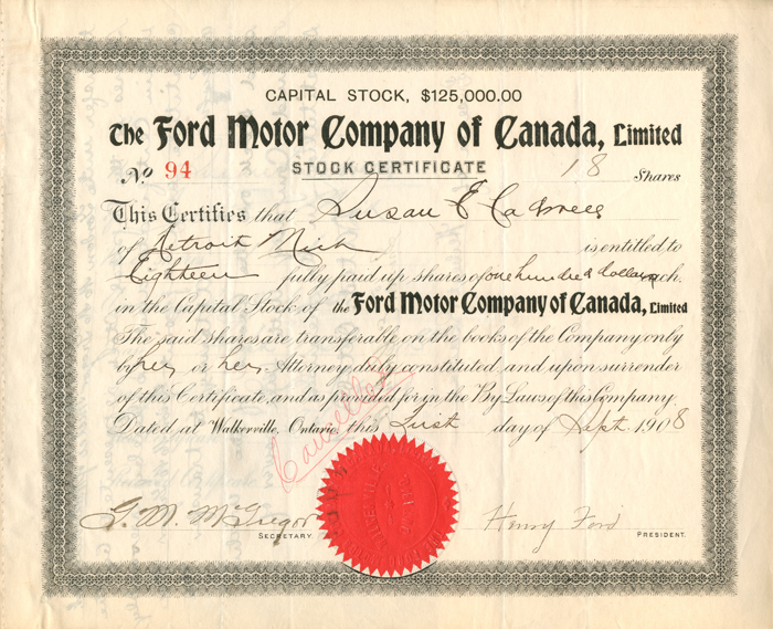 Collectible Autographed Stock Certificates Rare