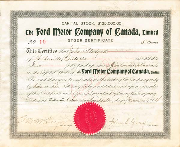 Collectible Canandian Stocks Ford Motor Company Of
