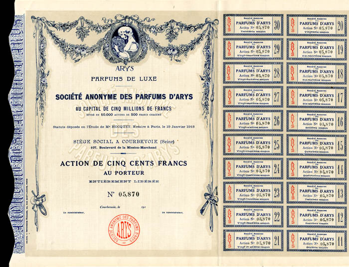 Societe Anonyme Des Parfums D'Arys - Stock Certificate