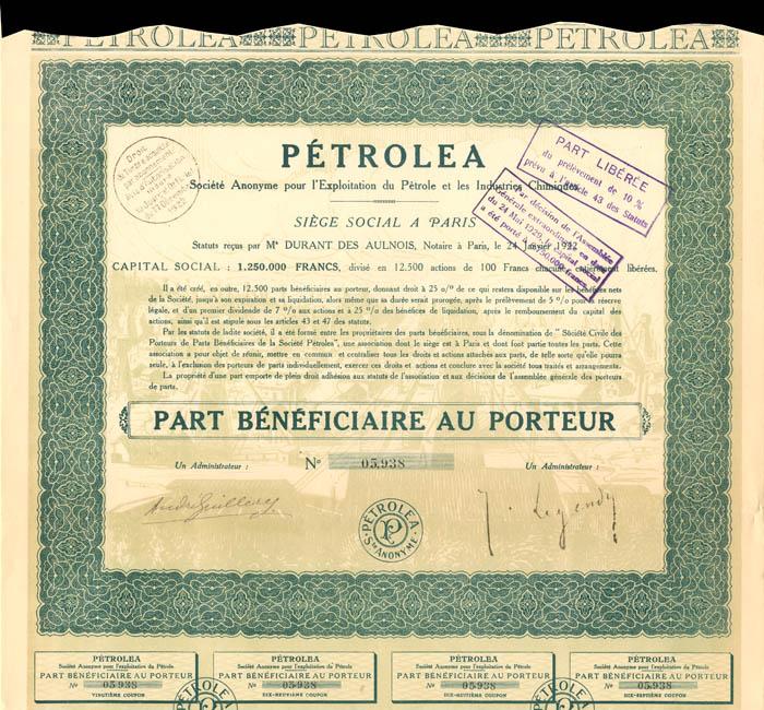 Petrolea - Stock Certificate