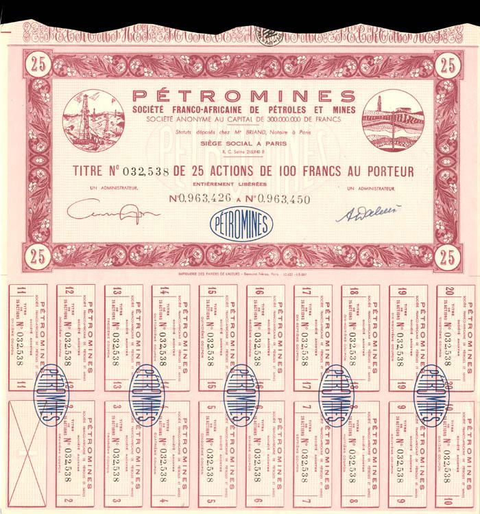 Petromines - Stock Certificate