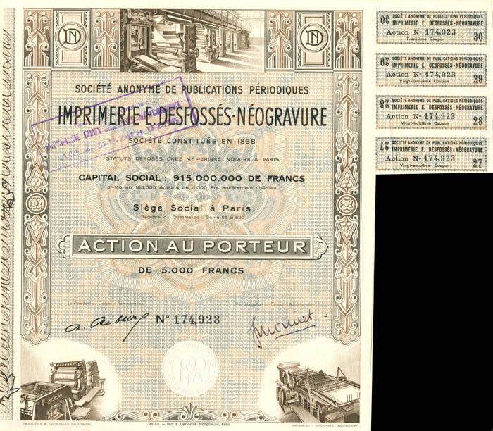Societe Anonyme De Publications Periodiques Imprimerie E. Desfosses-Neogravure