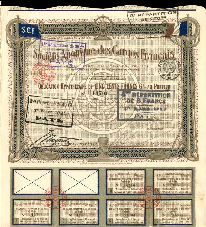 Societe Anonyme des Cargos Francais - Stock Certificate