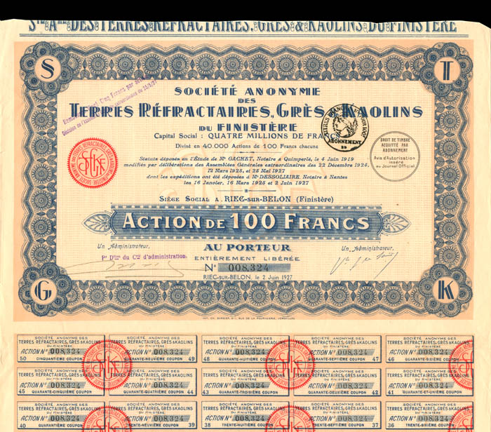 Societe Anonyme Des Terres Refractaires, Gres and Kaolins