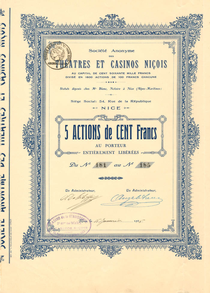Societe Anonyme Des Theatres Et Casinos Nicois